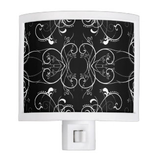 Delicate Floral Repeating Pattern in White on Blac Night Light