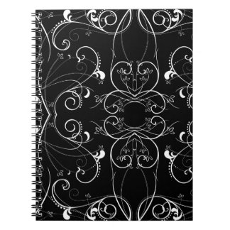 Delicate Floral Repeating Pattern in White on Blac Notebook