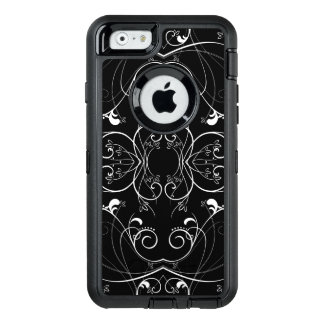 Delicate Floral Repeating Pattern in White on Blac OtterBox Defender iPhone Case