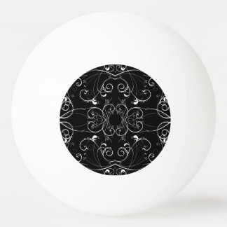 Delicate Floral Repeating Pattern in White on Blac Ping Pong Ball