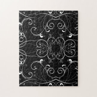 Delicate Floral Repeating Pattern in White on Blac Puzzles