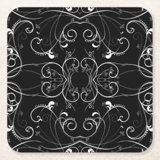 Delicate Floral Repeating Pattern in White on Blac Square Paper Coaster