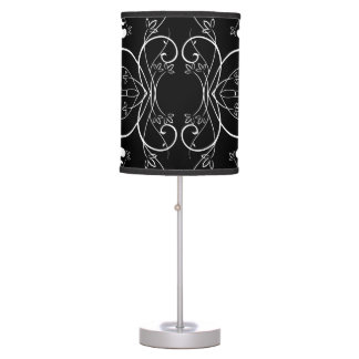 Delicate Floral Repeating Pattern in White on Blac Table Lamp