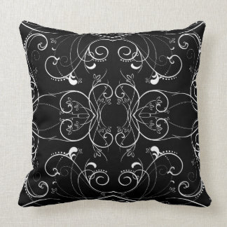 Delicate Floral Repeating Pattern in White on Blac Throw Pillow
