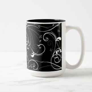 Delicate Floral Repeating Pattern in White on Blac Two-Tone Coffee Mug
