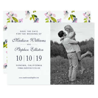 Delicate Floral Watercolor - Save the Date Card