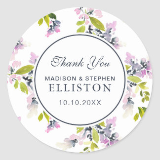 Delicate Floral Watercolor | Thank You Classic Round Sticker