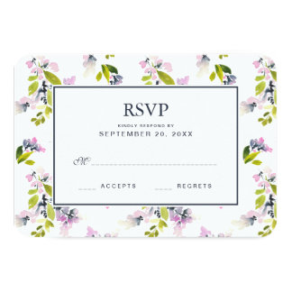 Delicate Floral Watercolor - Wedding RSVP Card