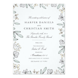 Delicate Floral Wedding Program