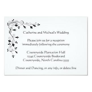 "Delicate floral Wedding Reception Location Insert 3.5"" X 5"" Invitation Card"