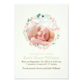 Delicate Floral Wreath Birth Announcements