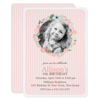 Delicate Floral Wreath Girl Birthday Party Card
