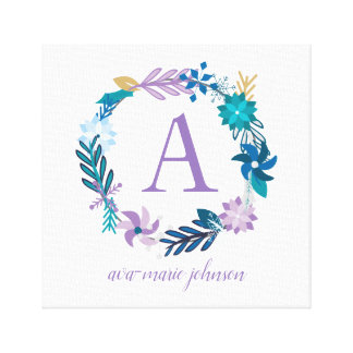 Delicate Floral Wreath Monogram Canvas Print