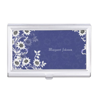 Delicate Flowers Blue and White Business Card Holder