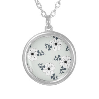 Delicate Flowers Design Silver Plated Necklace