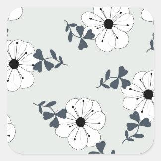 Delicate Flowers Design Square Sticker