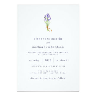 Delicate French Lavender Wedding Card