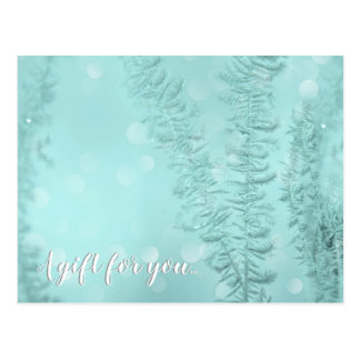 Delicate Frost in Blue Gift Certificate Postcard