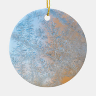 Delicate frost pattern, Wisconsin Round Ceramic Ornament