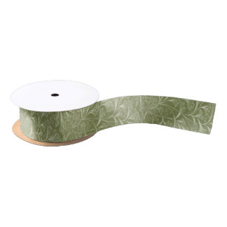 Delicate Ginkgo biloba leaves on Sage Green Satin Ribbon