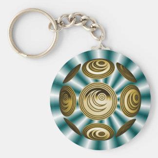 Delicate globe basic round button keychain