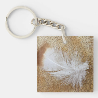 Delicate Goose Feathers Keychain
