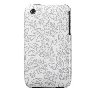 delicate gray flowers on white Case-Mate iPhone 3 case