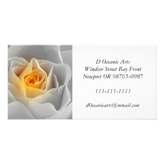 Delicate Gray Rose Photo Card Template