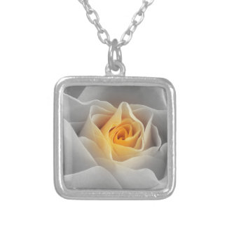Delicate Gray Rose Silver Plated Necklace