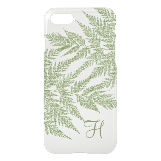 Delicate Green Fern Silhouette Monogram iPhone 7 Case