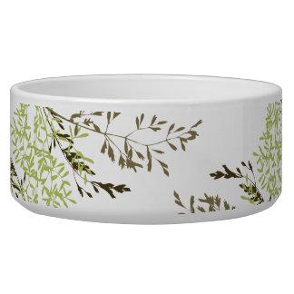 Delicate Green Leaves Pattern Dog Pet Bowl