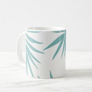 Delicate Green Tropical Leaves Pattern Coffee Mug