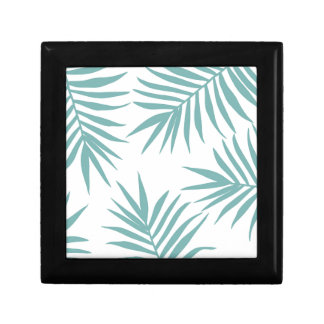 Delicate Green Tropical Leaves Pattern Gift Box
