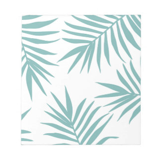 Delicate Green Tropical Leaves Pattern Notepad