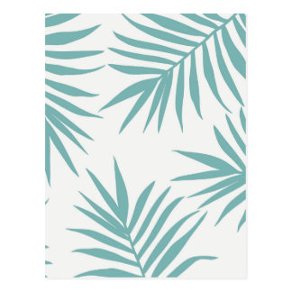 Delicate Green Tropical Leaves Pattern Postcard
