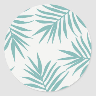Delicate Green Tropical Leaves Pattern Round Sticker