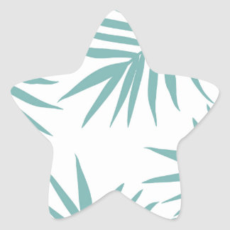 Delicate Green Tropical Leaves Pattern Star Sticker