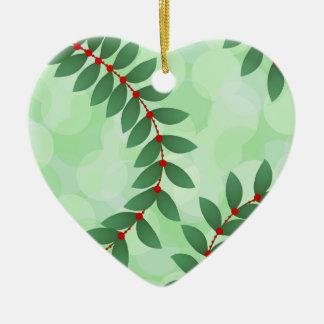 Delicate Holiday Foliage Ceramic Heart Ornament