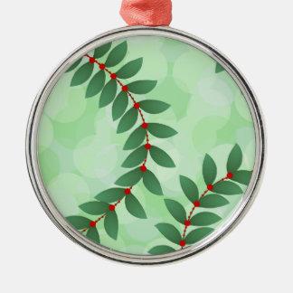 Delicate Holiday Foliage Silver-Colored Round Ornament