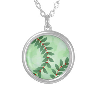 Delicate Holiday Foliage Silver Plated Necklace