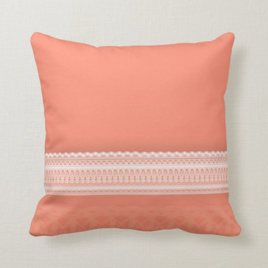 Delicate Lace Against Vibrant Coral Throw Pillow