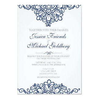 "Delicate lace border Floral Invitations 5""x7"" card"