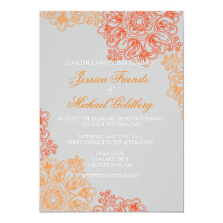 Delicate Lace Floral Wedding Invitations 5x7