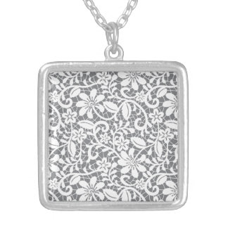 Delicate Lace Silver Plated Necklace