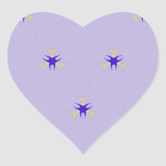 Delicate  lavender Purple Burst Pattern Heart Sticker