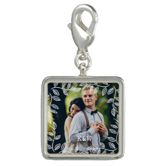 Delicate Leaves Frame Monogrammed Photo Charms