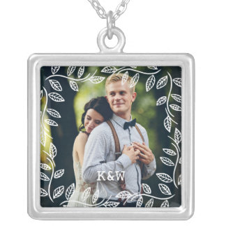 Delicate Leaves Frame Monogrammed Photo Silver Plated Necklace