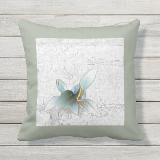 Delicate leaves on over-exposed brick throw pillow