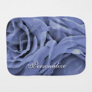 Delicate light blue gray roses flower photo burp cloth
