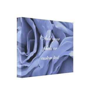 Delicate light blue gray roses flower photo canvas print